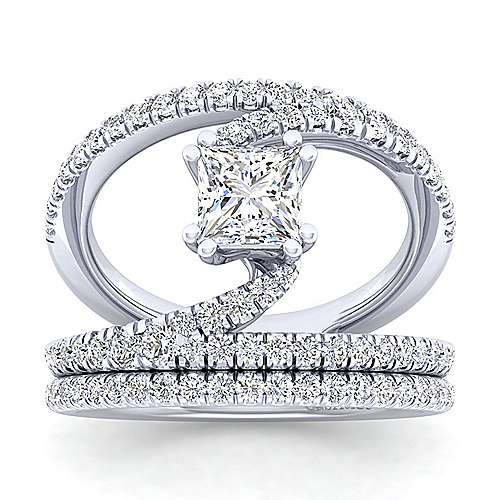 14K White Gold Princess Cut Split Shank Diamond Engagement Ring