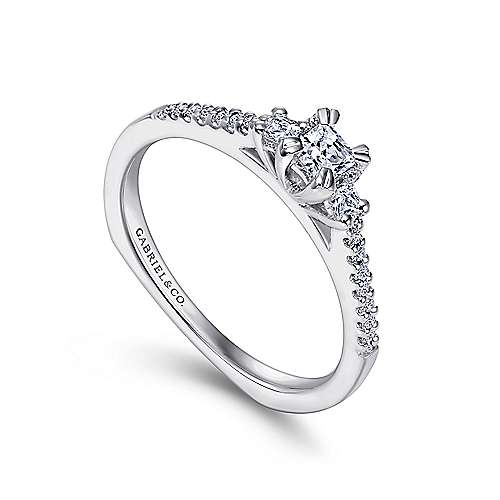 14K White Gold Princess Cut Three Stone Complete Diamond Engagement Ring