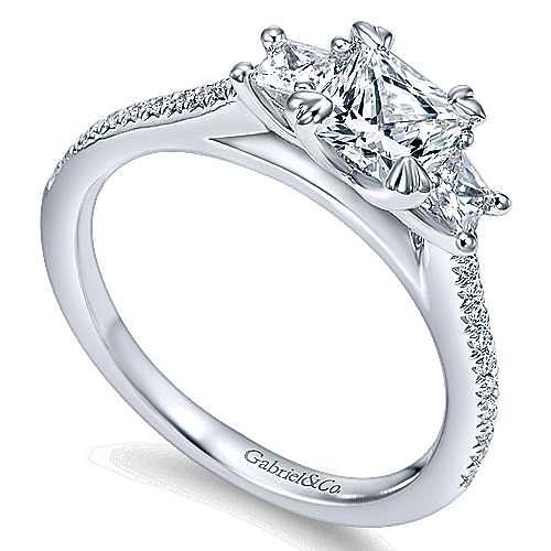14K White Gold Princess Cut Three Stone Complete Diamond Engagement Ring