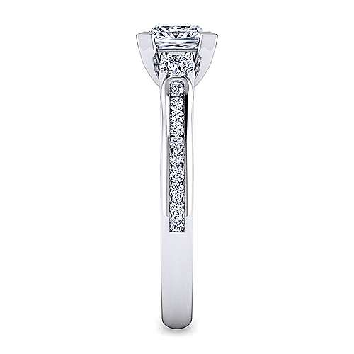 14K White Gold Princess Cut Three Stone Diamond Engagement Ring