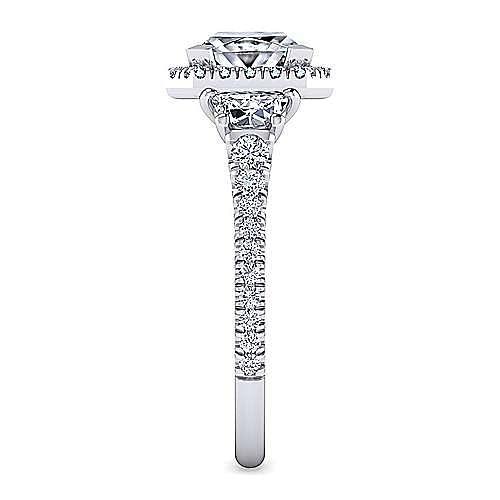 14K White Gold Princess Cut Three Stone Halo Diamond Engagement Ring