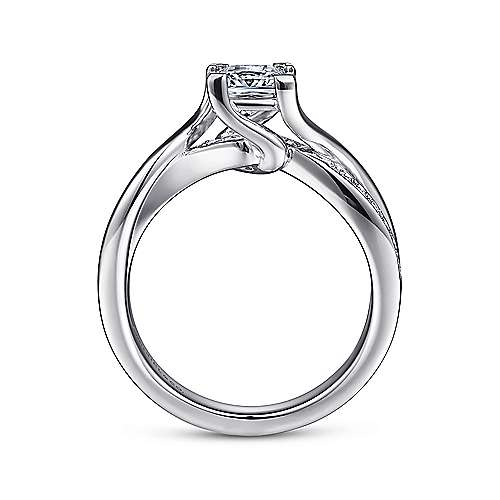 14K White Gold Princess Cut Twisted Diamond Engagement Ring