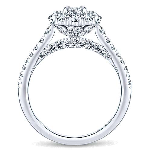 14K White Gold Princess Double Halo Complete Diamond Engagement Ring
