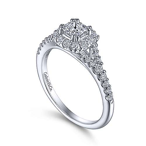 14K White Gold Princess Halo Complete Diamond Engagement Ring