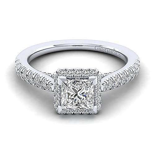 14K White Gold Princess Halo Diamond Engagement Ring