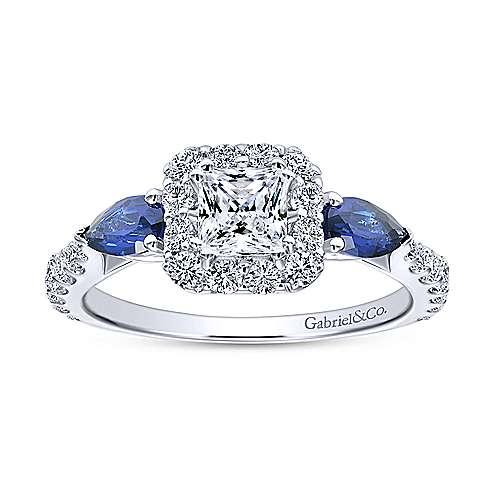 14K White Gold Princess Halo Diamond and Sapphire Complete Engagement Ring