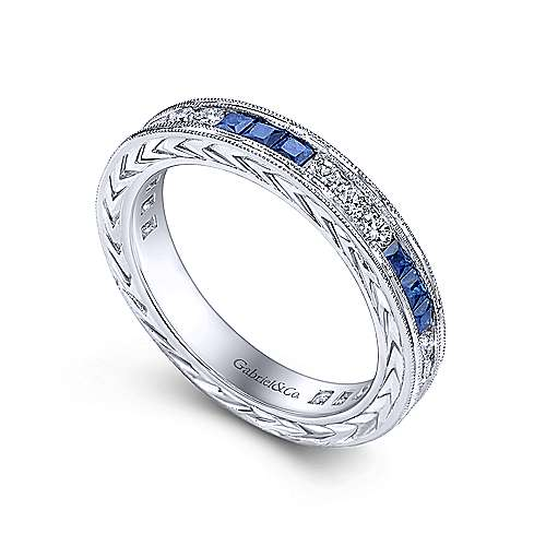 14K White Gold Princess Sapphire and Round Diamond Stackable Ring