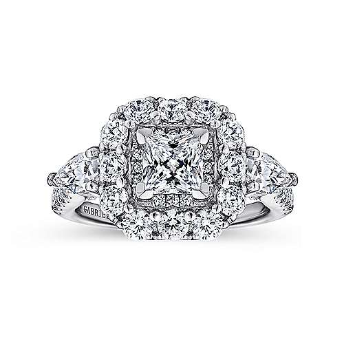 14K White Gold Princess Three Stone Halo Diamond Engagement Ring