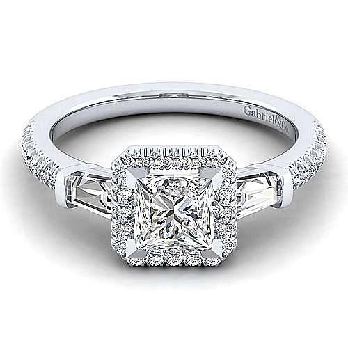 14K White Gold Princess Three Stone Halo Diamond Engagement Ring
