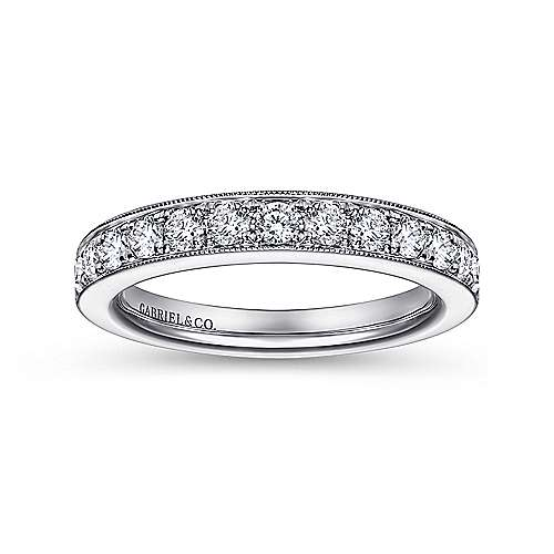14K White Gold Prong Channel Diamond Anniversary Band with Millgrain
