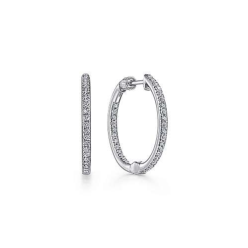 Gabriel - 14K White Gold Prong Set  20mm Round Classic Diamond Hoop Earrings