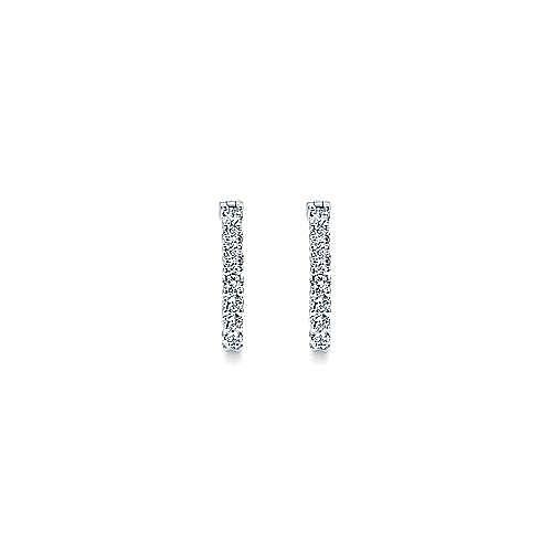 14K White Gold Prong Set  20mm Round Classic Diamond Hoop Earrings