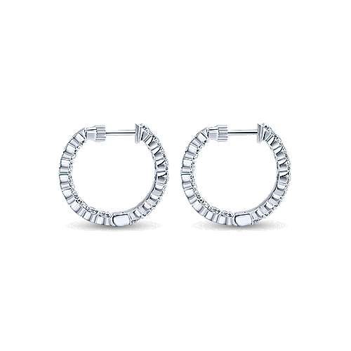 14K White Gold Prong Set  20mm Round Inside Out Diamond Hoop Earrings