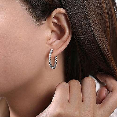 14K White Gold Prong Set  20mm Round Inside Out Diamond Hoop Earrings