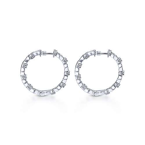 14K White Gold Prong Set  25mm Round Classic Diamond Hoop Earrings