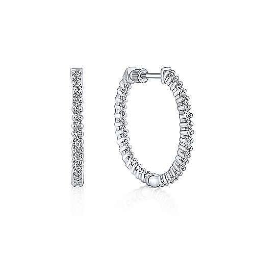 5f9e79e78 14K White Gold Prong Set 25mm Round Inside Out Diamond Hoop Earrings ...