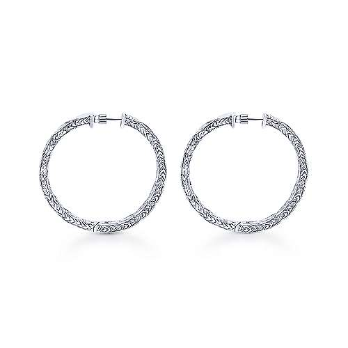 14K White Gold Prong Set  30mm Round Hand Carved Diamond Hoop Earrings