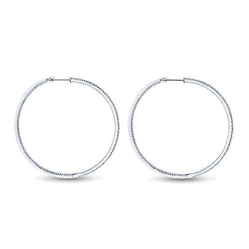 14K White Gold Prong Set  60mm Round Inside Out Diamond Hoop Earrings