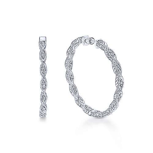 14K White Gold Prong Set (0.45ct.) 30mm Round Hand Carved Diamond Hoop Earrings