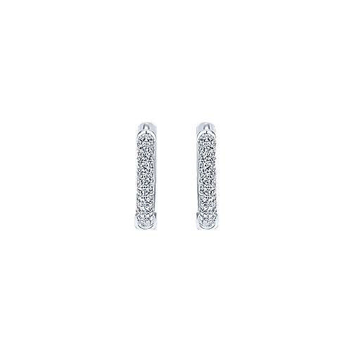 14K White Gold Prong Set 10mm Round Diamond Huggie Earrings