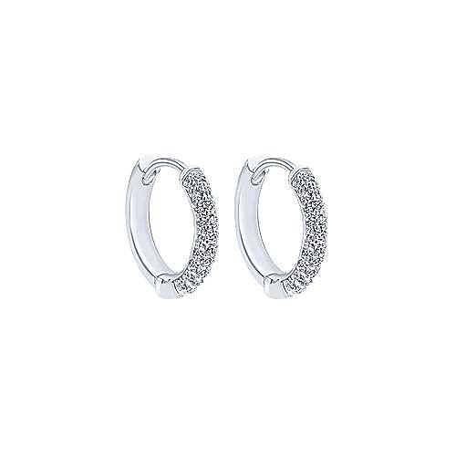 14K White Gold Prong Set 10mm Round Diamond Huggies