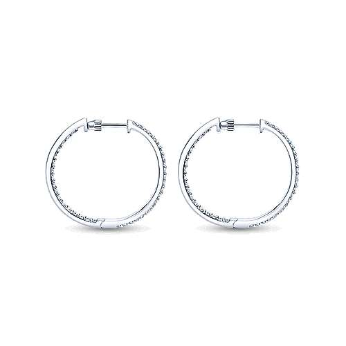 14K White Gold Prong Set 25mm Round Inside Out Diamond Hoop Earrings