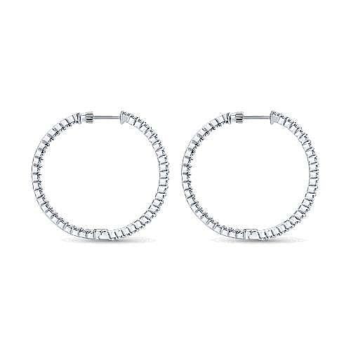 14K White Gold Prong Set 35mm Round Inside Out Diamond Hoop Earrings