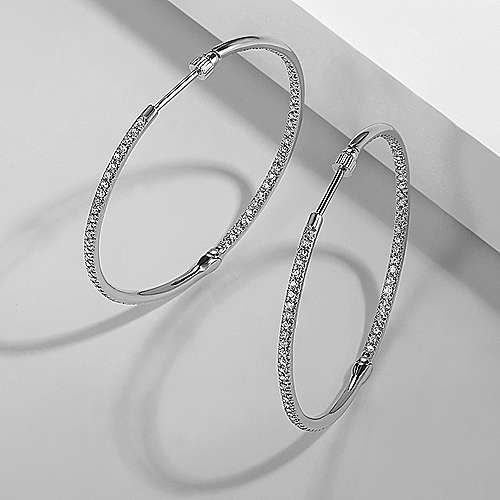 14K White Gold Prong Set 40mm Round Classic Diamond Hoop Earrings