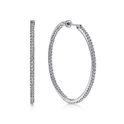 14K White Gold Prong Set 40mm Round Inside Out Diamond Hoop Earrings