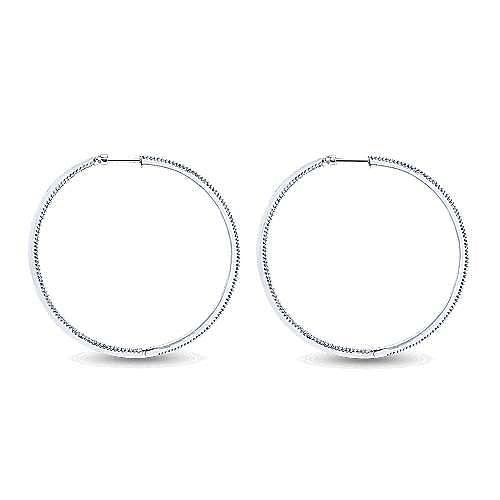 14K White Gold Prong Set 60mm Round Inside Out Diamond Hoop Earrings