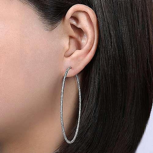 14K White Gold Prong Set 70mm Round Classic Diamond Hoop Earrings