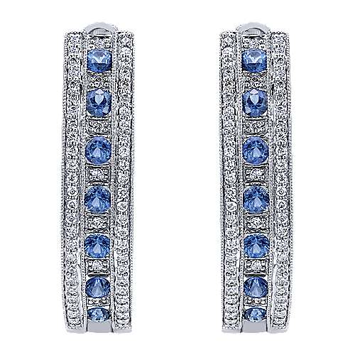 14K White Gold Prong Set/Channel 30mm Round Classic Diamond & Sapphire Hoop Earrings