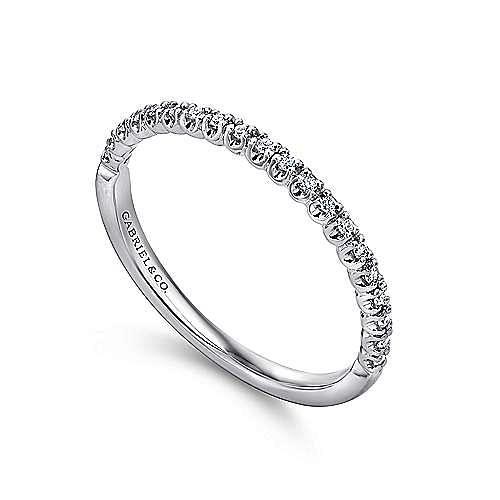 14K White Gold Prong Set Diamond Wedding Band
