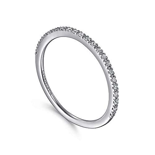 14K White Gold Prong Set Diamond Wedding Band