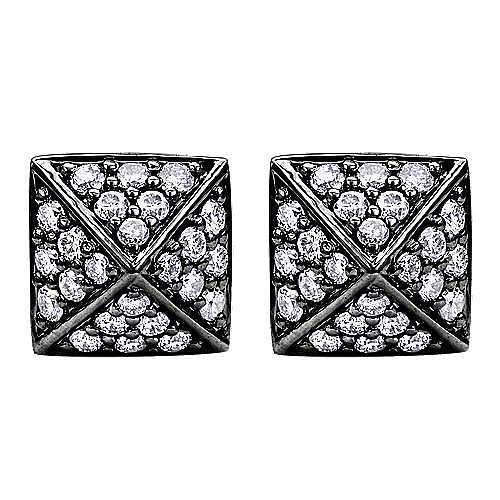 14K White Gold Pyramid Shape Diamond Stud Earrings