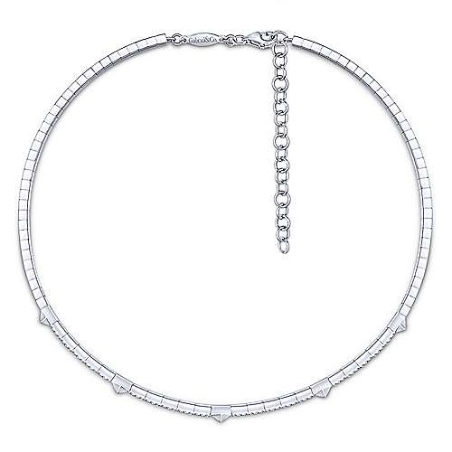 14K White Gold Pyramid and Diamond Choker Necklace