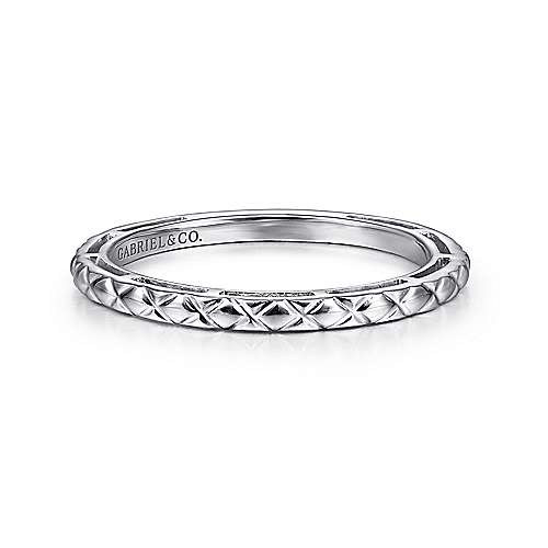 14K White Gold Quilted Pattern Stackable  Ring