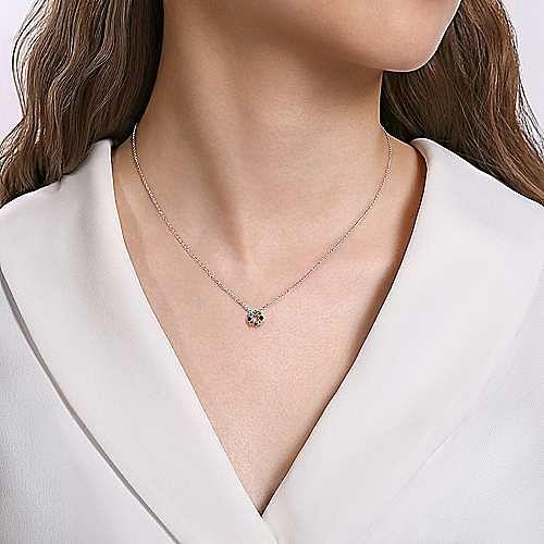 14K White Gold Rainbow Color Stone Circle Pendant Necklace