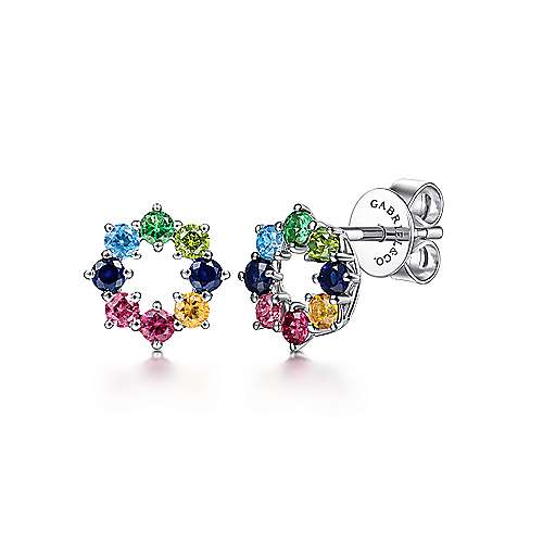 14K White Gold Rainbow Color Stone Earrings