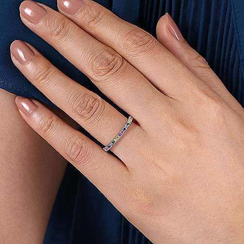 14K White Gold Rainbow Color Stone Stackable Ring
