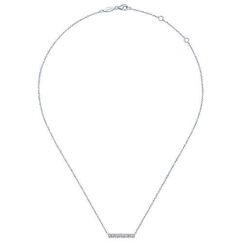 14K White Gold Rectangular Diamond Bar Necklace