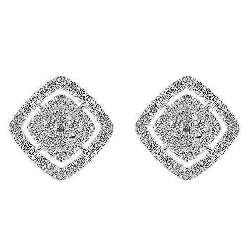 14K White Gold Rhombus Diamond Cluster Stud Earrings