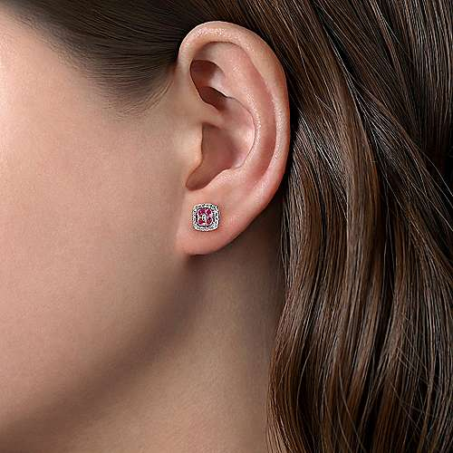 14K White Gold Rhombus Shape Diamond and Ruby Stud Earrings