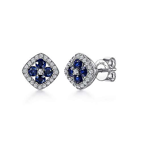 14K White Gold Rhombus Shape Diamond and Sapphire Stud Earrings