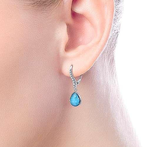 14K White Gold Rock Crystal/Turquoise Teardrop Diamond Earrings