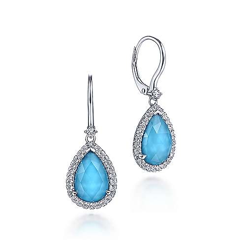 14K White Gold Rock Crystal/Turquoise Teardrop with Diamond Halo Leverback Earrings