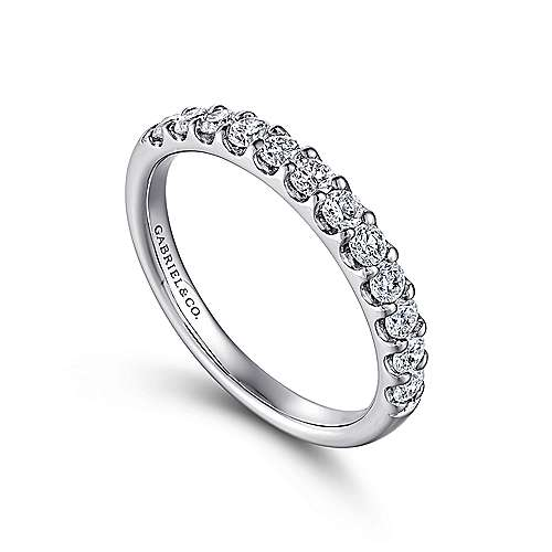 14K White Gold Round 12 Stone Diamond Wedding Band