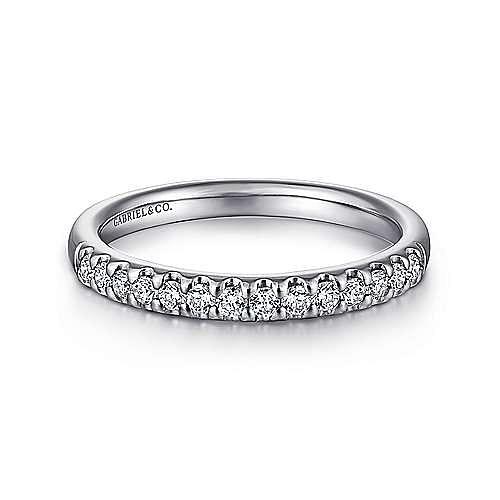 14K White Gold Round 14 Stone Diamond Wedding Band