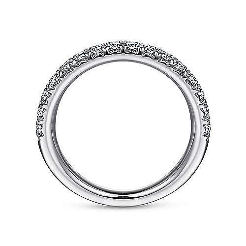 14K White Gold Round 16 Stone Diamond Wedding Band
