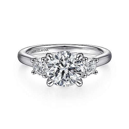 14K White Gold Round 3 Stone Diamond Engagement Ring